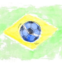 Soccer ball and watercolor flag of brazil vector