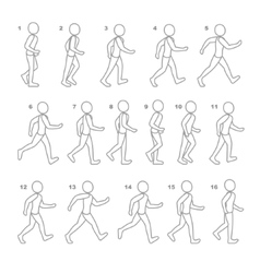 Phases of step movements man in walking sequence vector