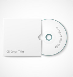 Blank white compact disk with cover mock up vector