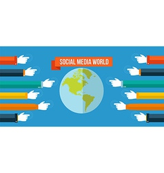 Social media world concept flat vector