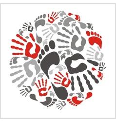Mixed handprints and footprints - vector image