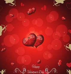 Festive red background with two hearts cupid and t vector image