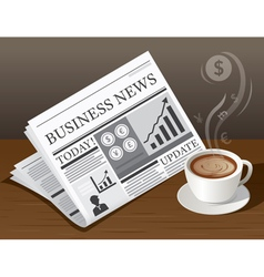 Coffee Cup Business Newspaper and Money Symbol vector image