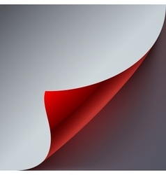 Curled grey and red paper page corner with vector