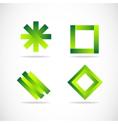 Green logo elements icon set vector
