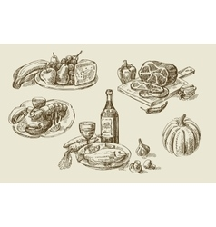 Hand drawn food sketch vector