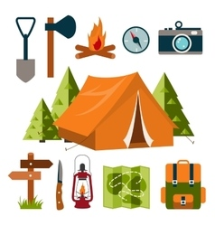 Tourist equipment camping vector