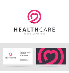 Healt care logo and business card template vector