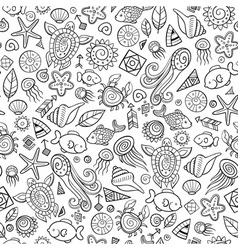 Beach and sea doodles vector