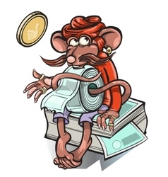 Little mouse who sells tickets for the bus vector