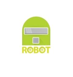 Funny green robot head logo design vector
