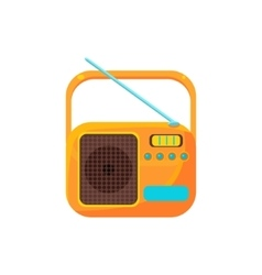 Small yellow radio with antenna simplified icon vector