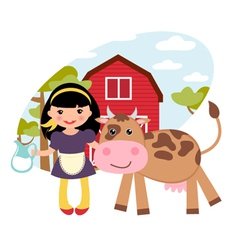 Girl and cow vector