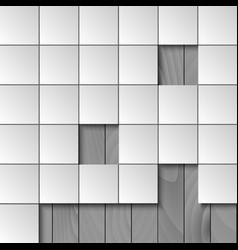 Abstract background with squares and wooden wall vector image