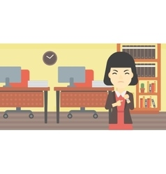 Angry business woman pointing at wrist watch vector image vector image