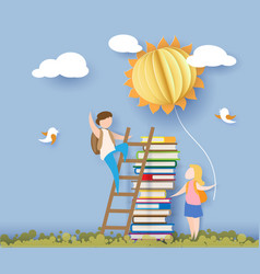 Back to school card with kids books and sun vector