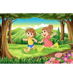 Children running at the woods vector image vector image
