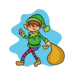 Christmas collection elf helper cartoon vector