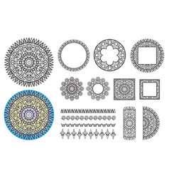 Collection elements round pattern square frames vector