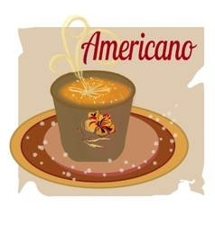 Cup ice of americano on paper background cartoon vector image vector image