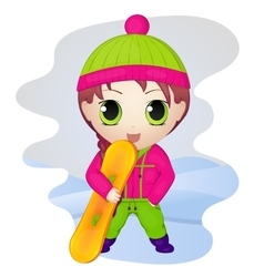Cute anime chibi little girl with snowboard vector