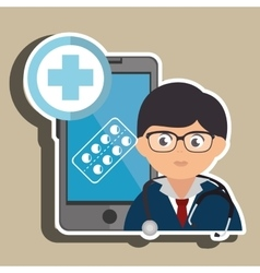 Doctor cellphone and pill isolated icon design vector