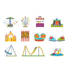 fairground games playgrounds and amusement park vector image