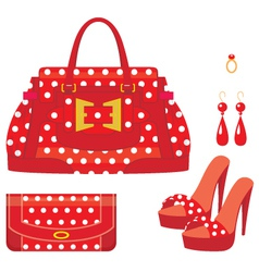 Female bag purse and shoes on a heel vector