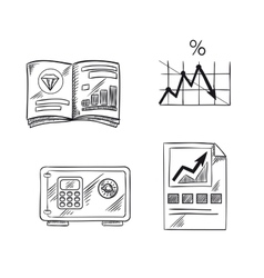 Finance investment and banking sketch icons vector