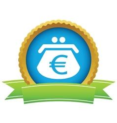 Gold euro purse logo vector
