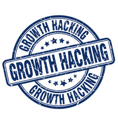 Growth hacking blue grunge stamp vector