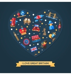 I love Great Britain heart card with famous vector image