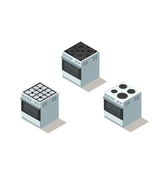 isometric set of electric and gas cooker stove vector image