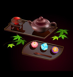 japanese sweets and tea vector image