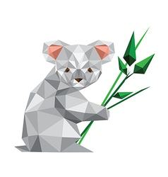 Kwoal origami koala with leaves vector image