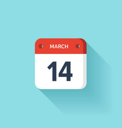 March 14 isometric calendar icon with shadow vector