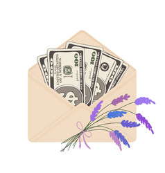 One hundred dollar banknotes in open beige vector