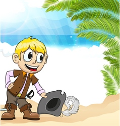 Pirate on a tropical island vector