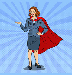 Pop art super business woman in red cape vector