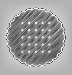 Round biscuit sign pencil sketch vector