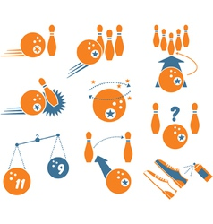 set of bowling icons vector image vector image