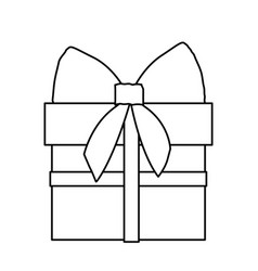 silhouette gift box with ribbon wrapping vector image