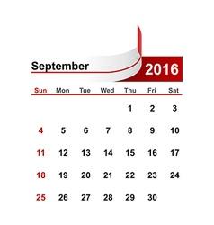 Simple calendar 2016 year september month vector
