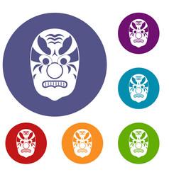 Tribal mask icons set vector