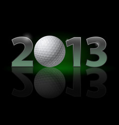 Twenty thirteen year golf ball on black vector