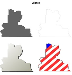 Wasco map icon set vector