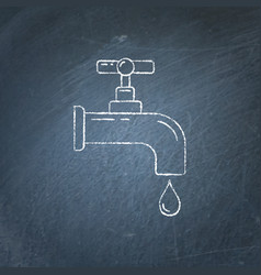 water tap icon chalkboard sketch vector image