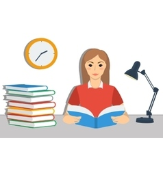 Young brown hair girl student reading a book vector