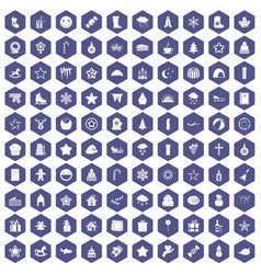 100 christmas icons hexagon purple vector