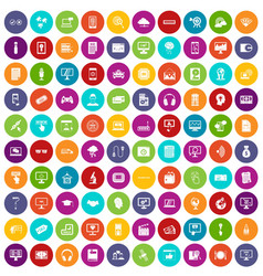 100 website icons set color vector